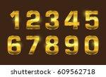 set of gold numbers.vector... | Shutterstock .eps vector #609562718