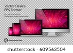 realistic computer monitor ... | Shutterstock .eps vector #609563504