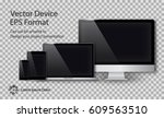 realistic computer monitor ... | Shutterstock .eps vector #609563510