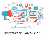 online digital marketing and... | Shutterstock . vector #609565154