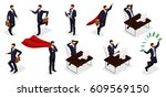 isometric people  3d young... | Shutterstock .eps vector #609569150