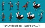 isometric people  3d... | Shutterstock .eps vector #609569174