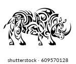 rhino figure tattoo shape.... | Shutterstock .eps vector #609570128