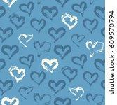 seamless heart pattern hand... | Shutterstock .eps vector #609570794