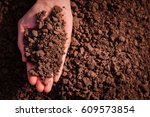 soil in hand  palm  cultivated... | Shutterstock . vector #609573854