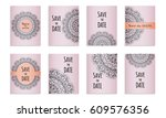 set template of postcards with...   Shutterstock .eps vector #609576356