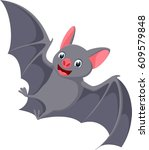 happy flying bat cartoon  | Shutterstock .eps vector #609579848