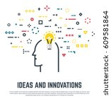 big idea concept. human head... | Shutterstock .eps vector #609581864