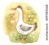 Funny Cute Goose. Watercolor...