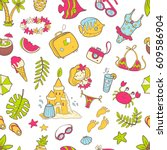 vector cute doodle seamless... | Shutterstock .eps vector #609586904