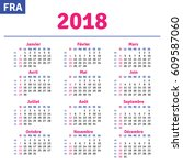 french calendar 2018 ... | Shutterstock .eps vector #609587060