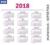 portuguese  brazilian  calendar ... | Shutterstock .eps vector #609587063