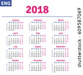 english calendar 2018 ... | Shutterstock .eps vector #609587069