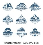 set of vector mountain and... | Shutterstock .eps vector #609592118