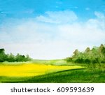 abstract watercolor landscape... | Shutterstock . vector #609593639