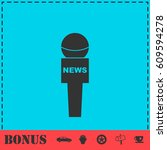 reporter microphone icon flat.... | Shutterstock .eps vector #609594278