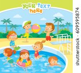 kids in swimming pool | Shutterstock .eps vector #609595874