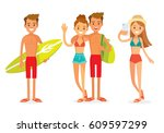 young people on vacation | Shutterstock .eps vector #609597299
