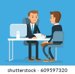 business meeting with partner | Shutterstock .eps vector #609597320