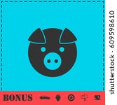pig icon flat. simple vector... | Shutterstock .eps vector #609598610
