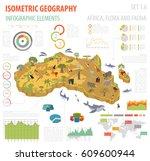 flat 3d isometric africa flora... | Shutterstock .eps vector #609600944