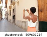 rear view of african american... | Shutterstock . vector #609601214
