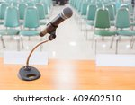 close up of microphone in empty ... | Shutterstock . vector #609602510