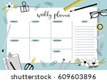 weekly planner template.... | Shutterstock .eps vector #609603896