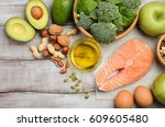 selection of healthy products.... | Shutterstock . vector #609605480