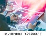 close up businessmen working at ... | Shutterstock . vector #609606644