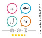 fishing icons. fish with... | Shutterstock .eps vector #609611210