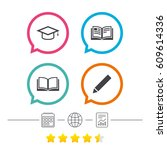 pencil and open book icons.... | Shutterstock .eps vector #609614336