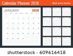 calendar planner design... | Shutterstock .eps vector #609616418