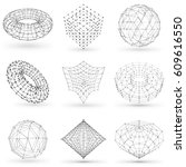 set of wireframe polygonal... | Shutterstock .eps vector #609616550