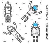 astronaut in space. human... | Shutterstock .eps vector #609616598