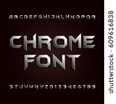 chrome alphabet font. metallic... | Shutterstock .eps vector #609616838