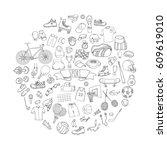 hand drawn doodle sport set.... | Shutterstock .eps vector #609619010