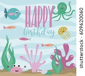 happy birthday greeting or... | Shutterstock .eps vector #609620060