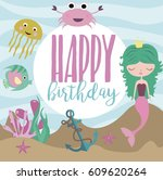happy birthday greeting or... | Shutterstock .eps vector #609620264