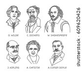 portraits of english famous... | Shutterstock .eps vector #609620426