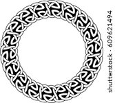 monochrome round celtic pattern.... | Shutterstock .eps vector #609621494