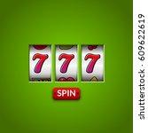 Stock vector lucky seven slot machine casino vegas game gambling fortune chance win jackpot money 609622619