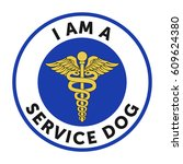 service dog badge  sticker with ... | Shutterstock .eps vector #609624380