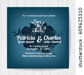 wedding invitation card... | Shutterstock .eps vector #609625310