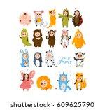 small children in animal... | Shutterstock .eps vector #609625790