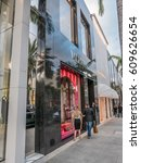 Small photo of Los Angeles, California, USA, February 27, 2017: Rodeo Drive is an affluent shopping district known for designer label and haute couture fashion, Valentino