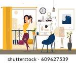 girl freelancer in home | Shutterstock .eps vector #609627539