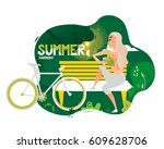 summer in my soul. girl with... | Shutterstock .eps vector #609628706