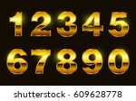 set of gold numbers.vector... | Shutterstock .eps vector #609628778