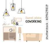 fashionable interior design | Shutterstock .eps vector #609629819